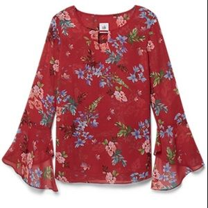 Anthropology CABI devoted red floral blouse
